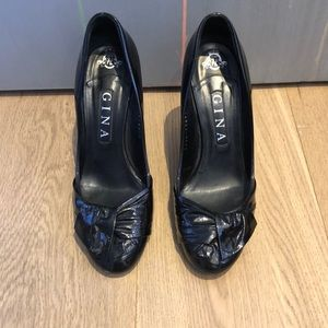 Shoes - Gina Black Patent Leather Heels